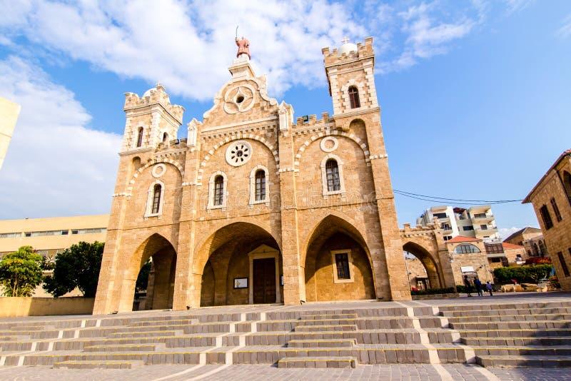 La chiesa in Batrun, Libano di St Stephen immagini stock