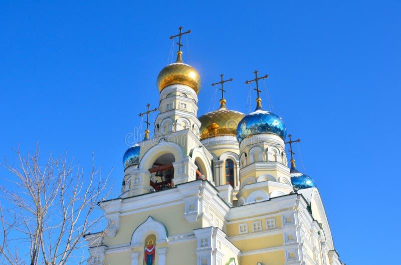 La chiesa del bogoroditsi di Pokrova Presvyatoy in Vladivostok immagini stock libere da diritti