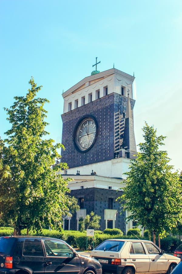 La chiesa del cuore sacro del signore a Praga, repubblica Ceca immagine stock libera da diritti