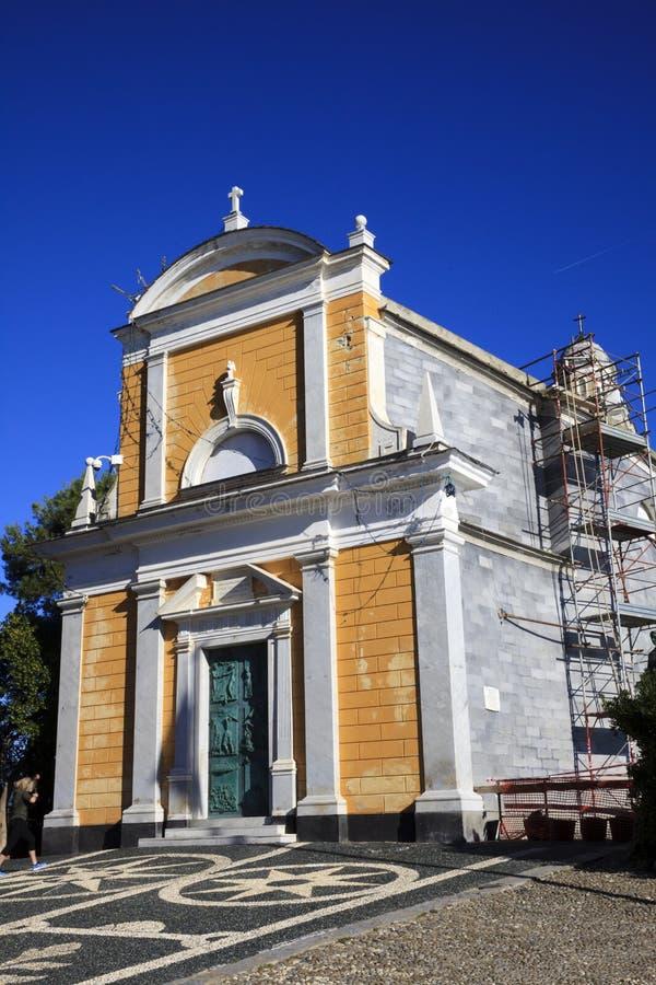 La chiesa del Portofino antico, Portofino, Genova, Liguria, Italia immagini stock