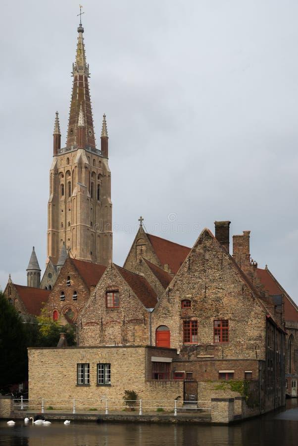La chiesa della nostra signora a Bruges fotografie stock libere da diritti