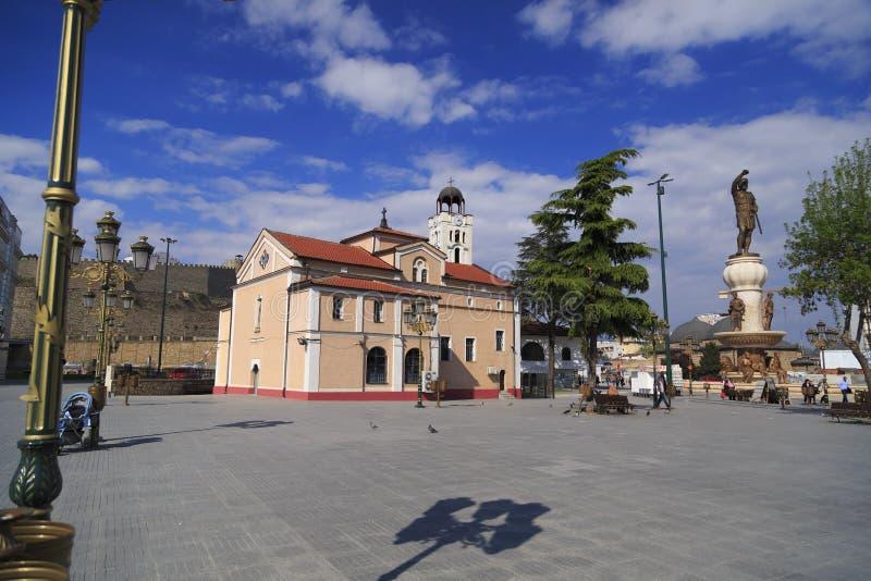 La chiesa della st Demetrius al quadrato di Philip II, Skopje, mackintosh immagini stock