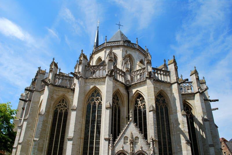 La chiesa dello St Peter nel centro urbano storico a Lovanio immagini stock libere da diritti