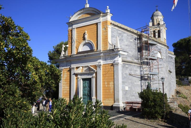 La chiesa di Portofino, Portofino, Genova, Liguria, Italia immagine stock libera da diritti