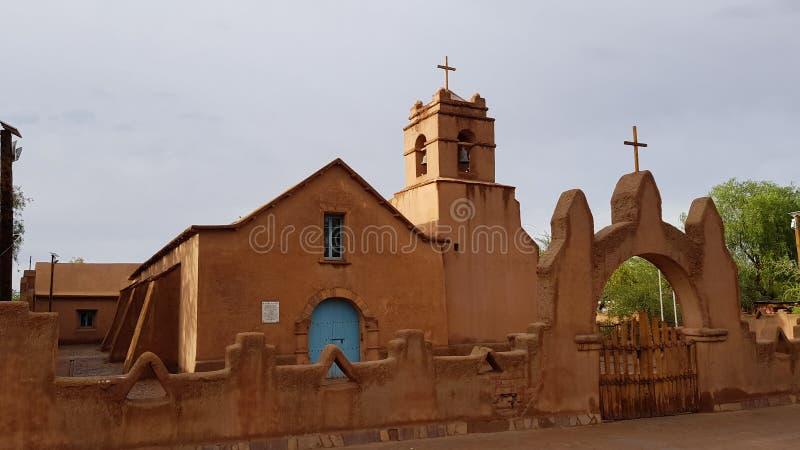 La chiesa di San Pedro de Atacama, Cile immagine stock