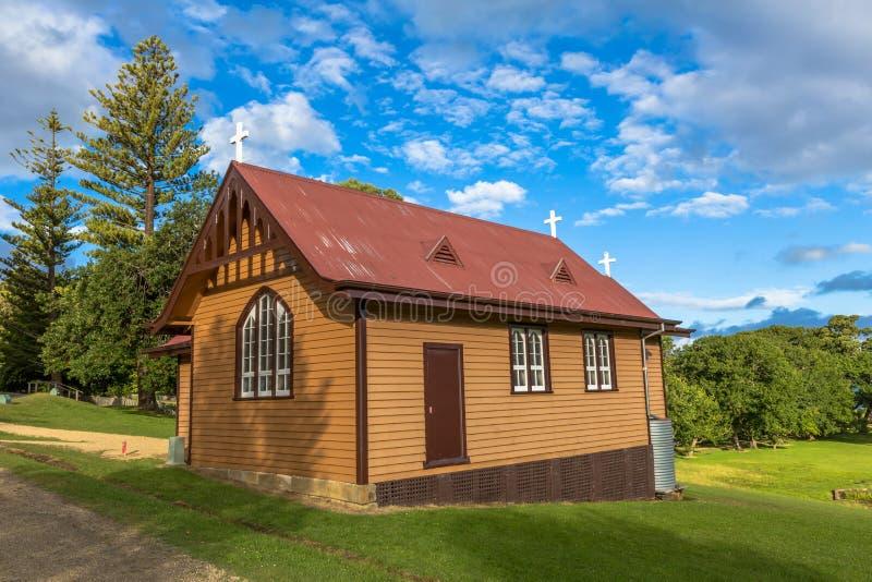 La chiesa di St David a porto Arthur Historic Site fotografie stock