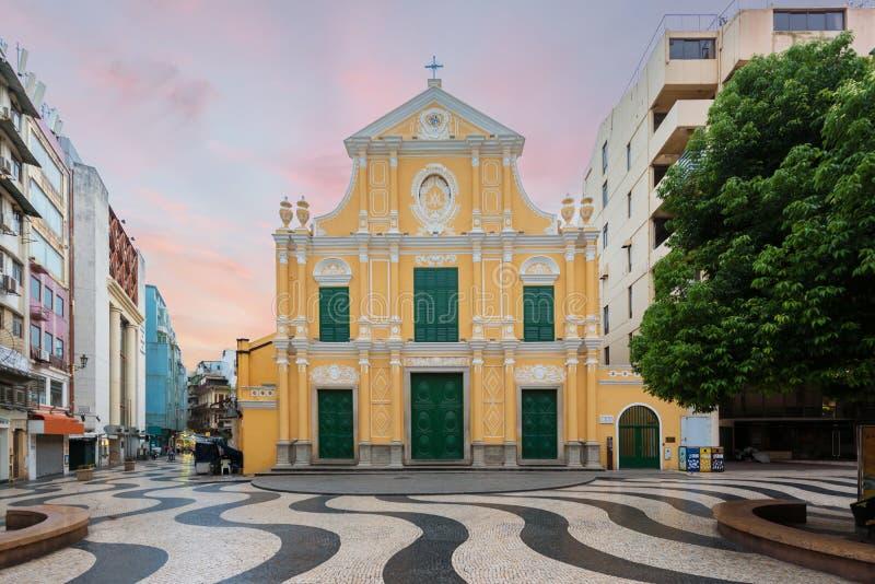 La chiesa di St Dominic, chiesa in mezzo al quadrato di Senado, Macao, Cina fotografia stock