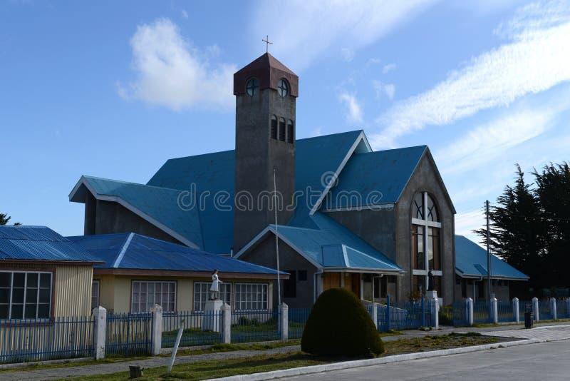 La chiesa nel villaggio di Porvenir fotografia stock libera da diritti