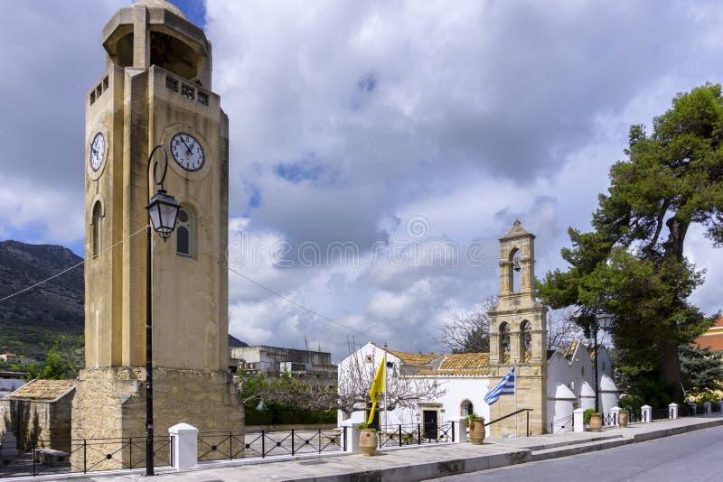 La chiesa veneziana del vergine Mary Panagia Kera o Faneromeni è situata vicino all'entrata della città di Archanes fotografia stock