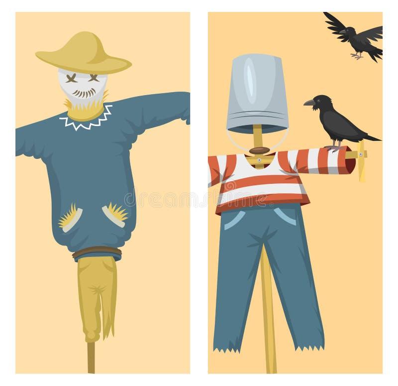 La chiffon-poupée différente de robe de jeu de caractère de jouet de poupées et d'épouvantail de ferme dirigent l'illustration illustration stock