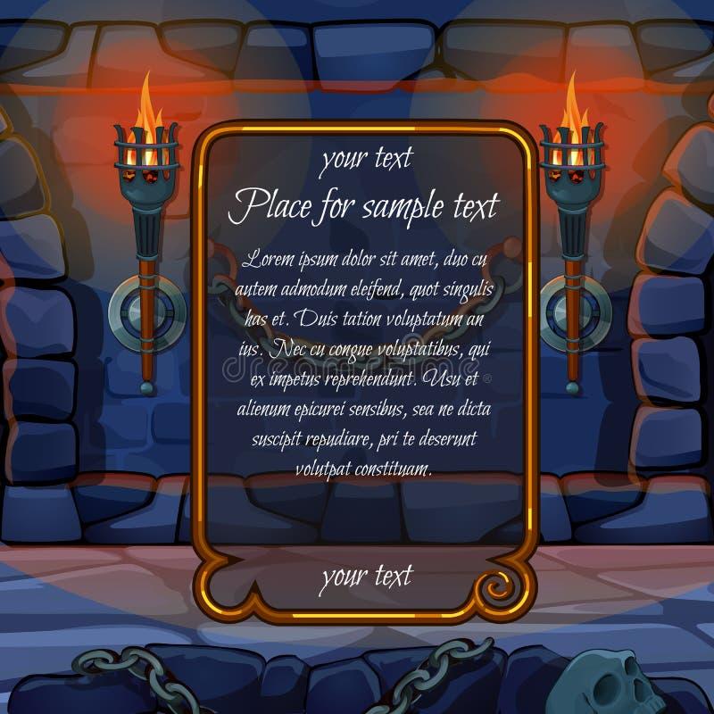 La chimenea con las antorchas y el marco para la muestra mandan un SMS libre illustration