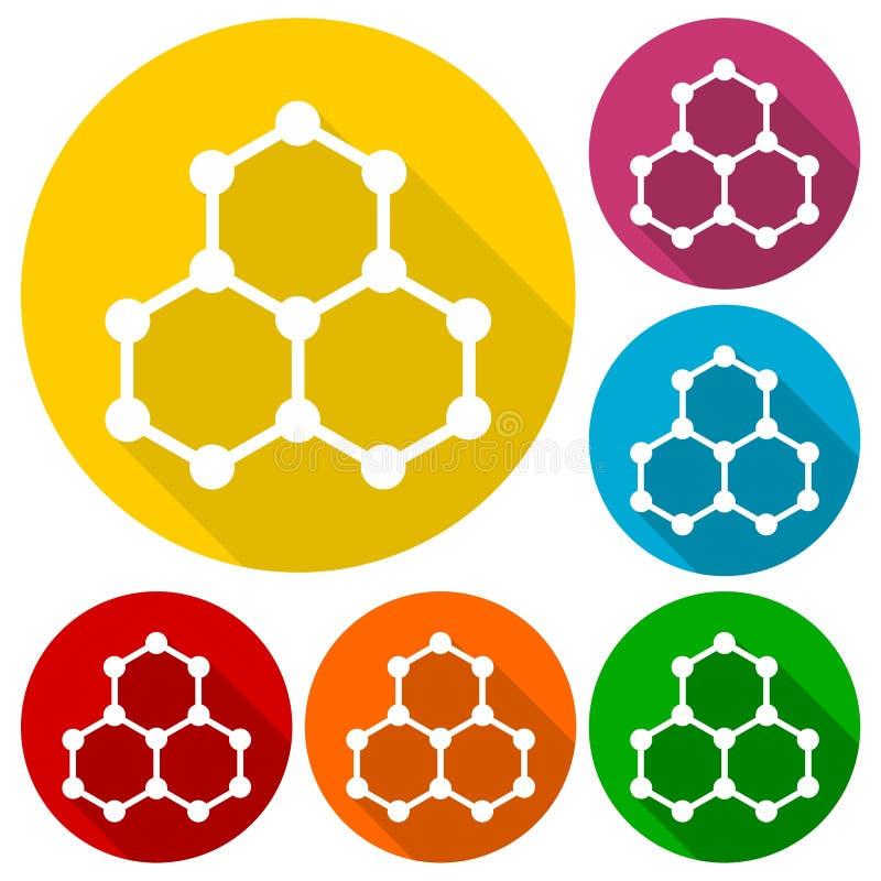 La chimie de symbole, icônes de la science a placé avec la longue ombre illustration stock