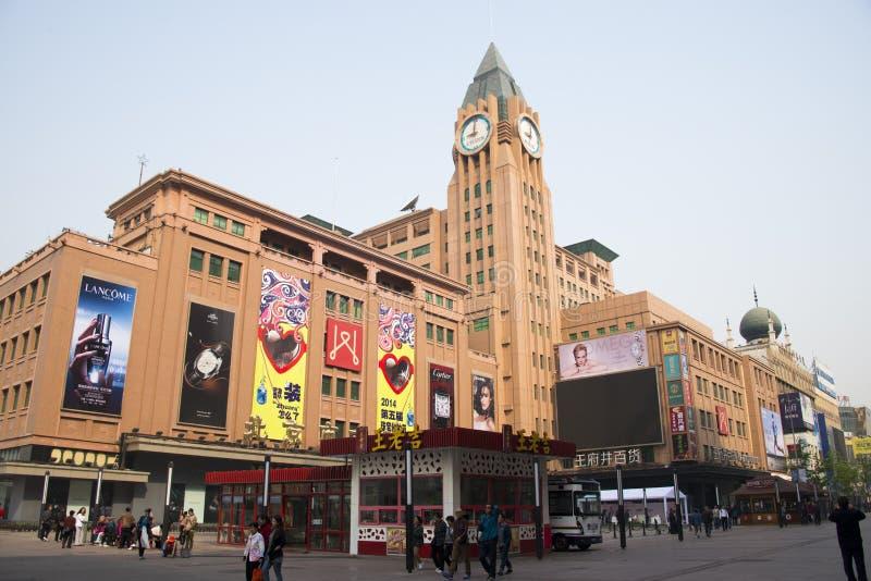 La Chine Asie, Pékin, la rue de marche de Wangfujing, magasin image libre de droits