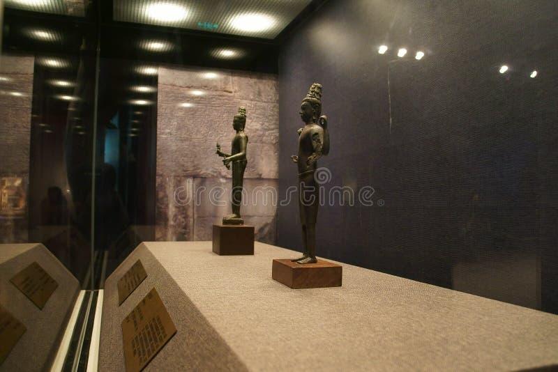 La Chine Asie, Pékin, le musée capital, reliques du Kampuchea Angkor et Art Exhibition photo libre de droits