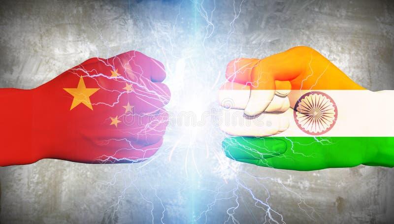 La Chine contre l'Inde illustration stock