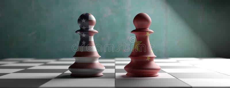 La Chine contre les Etats-Unis, gages d'échecs sur un échiquier illustration 3D illustration de vecteur