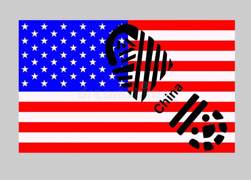 La Chine contre les Etats-Unis Semelle sur le drapeau images libres de droits