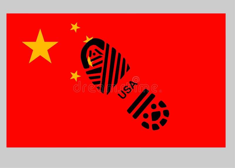 La Chine contre les Etats-Unis Semelle sur le drapeau photographie stock