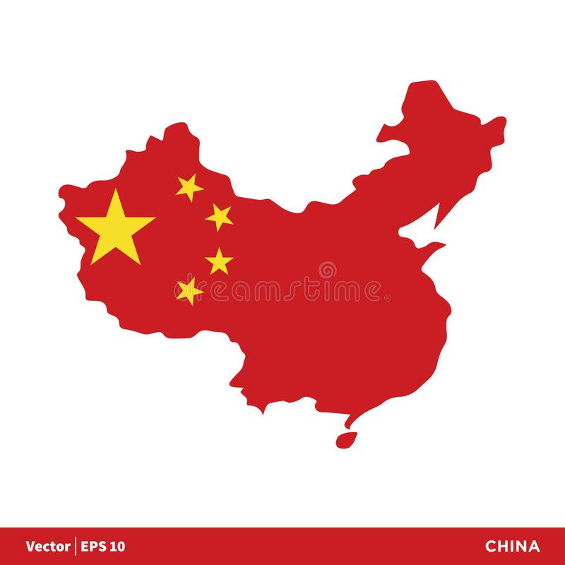 La Chine - les pays de l'Asie tracent et marquent le vecteur Logo Template Illustration Design d'icône Vecteur ENV 10 illustration libre de droits