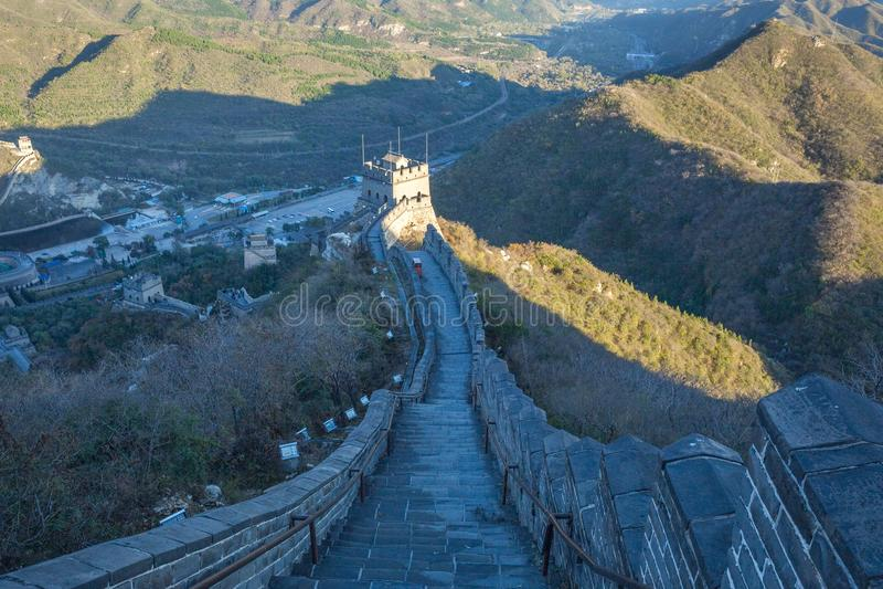 La Chine, Pekin, mur de la Chine, coucher du soleil, histoire 2016 images stock
