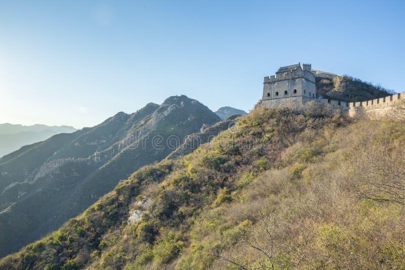 La Chine, Pekin, mur de la Chine, coucher du soleil, histoire 2016 photographie stock