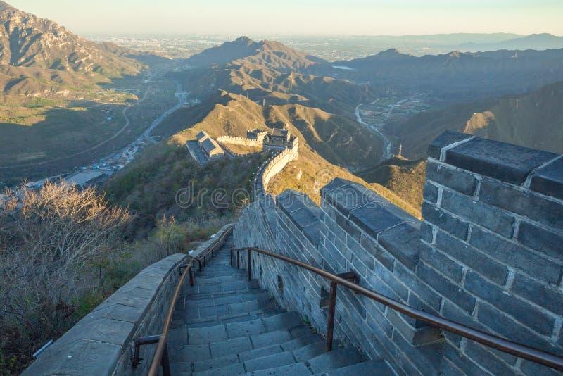 La Chine, Pekin, mur de la Chine, coucher du soleil, histoire 2016 photos stock