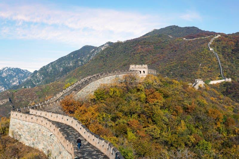 La Chine la vue éloignée de Grande Muraille a comprimé les tours et le seg de mur images stock