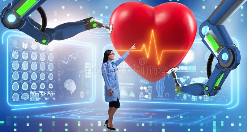 La chirurgie cardiaque faite par le bras robotique illustration libre de droits