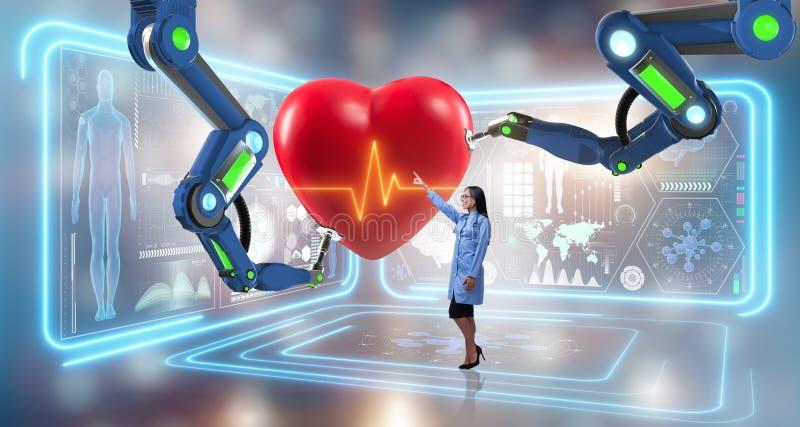 La chirurgie cardiaque faite par le bras robotique illustration de vecteur