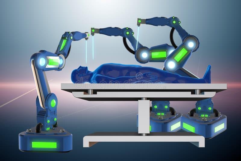 La chirurgie exécutée par le bras robotique illustration stock