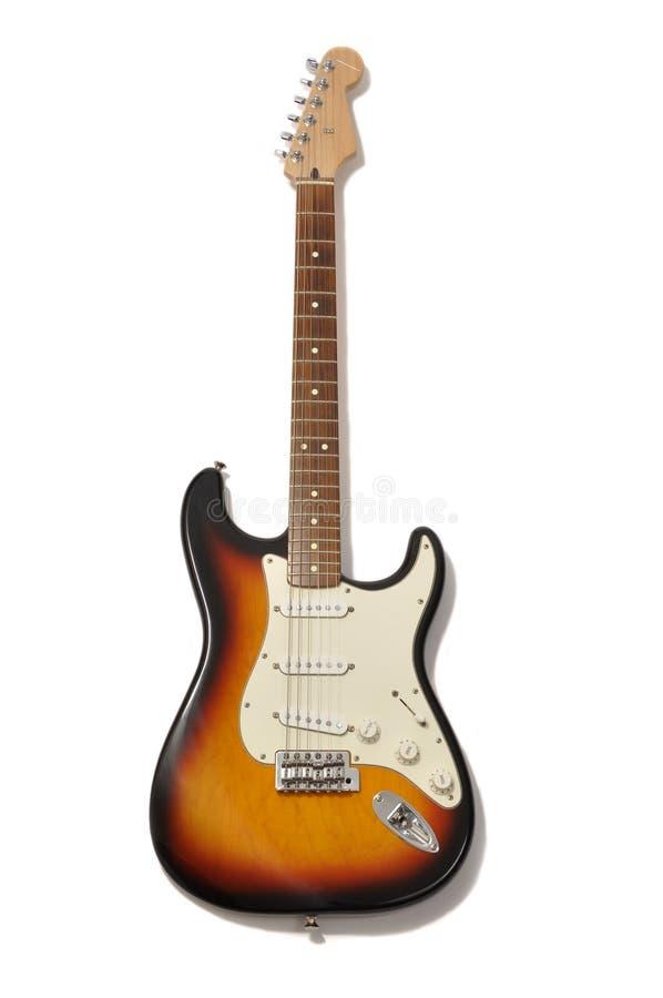 La chitarra elettrica dello sprazzo di sole ha isolato immagini stock libere da diritti