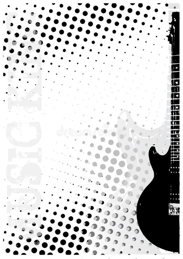 La chitarra elettrica punteggia la priorità bassa del manifesto illustrazione vettoriale
