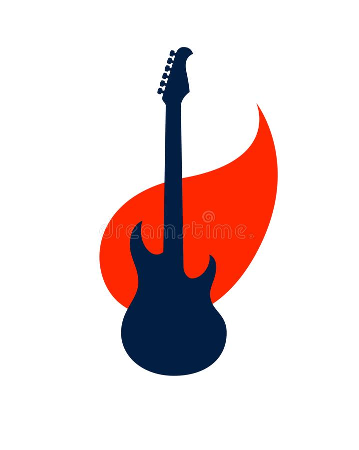 La chitarra elettrica su fuoco, chitarra calda di musica rock in fiamme, concerto di rock-and-roll o del hard rock o etichetta di royalty illustrazione gratis