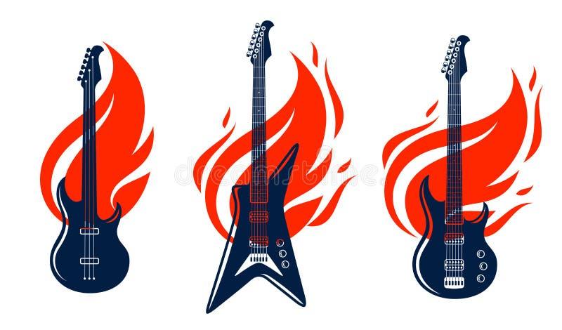 La chitarra elettrica su fuoco, chitarra calda di musica rock in fiamme, concerto di rock-and-roll o del hard rock o etichette di illustrazione di stock