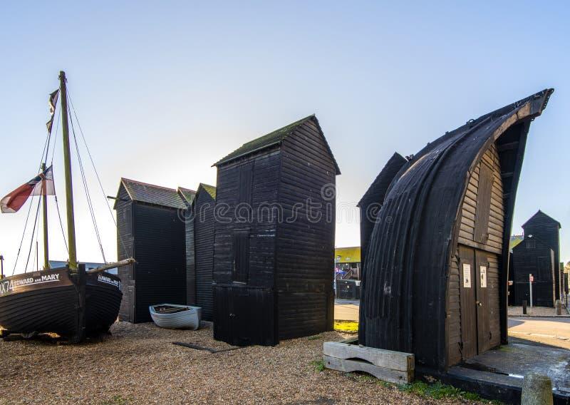 La choza famosa de la red del Mitad-barco en Hastings, East Sussex, Inglaterra imagen de archivo libre de regalías