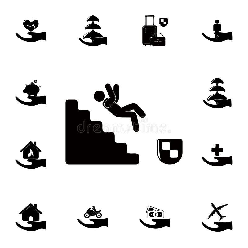 la chute d'un homme sur l'icône d'escaliers Ensemble détaillé d'icônes d'assurance Signe de la meilleure qualité de conception gr illustration de vecteur