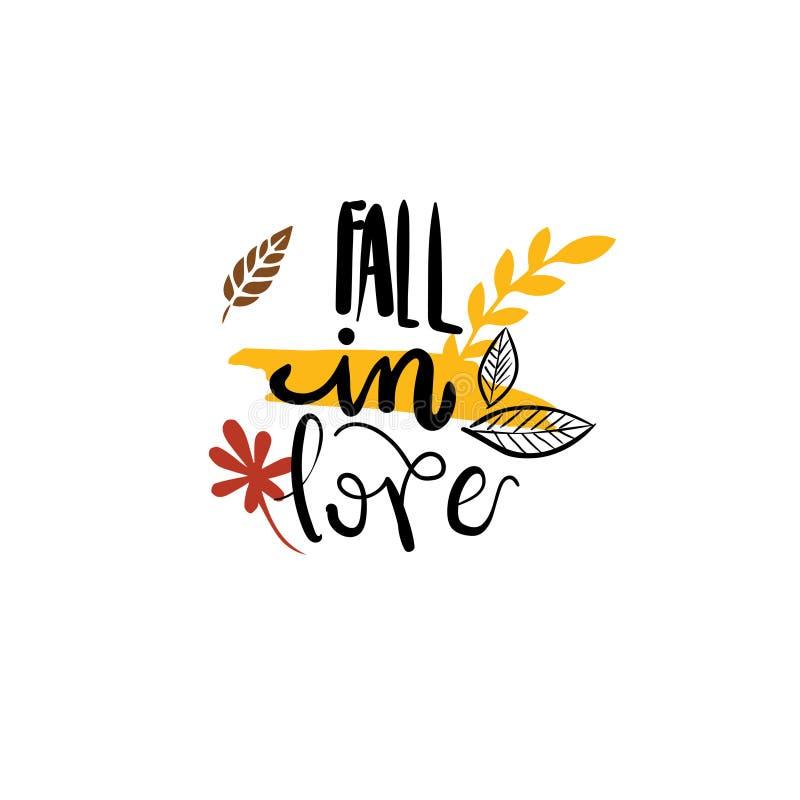 La chute dans le lettrage de saison de label de conception d'isolement par insigne d'automne d'amour pour la carte de voeux d'inv illustration libre de droits