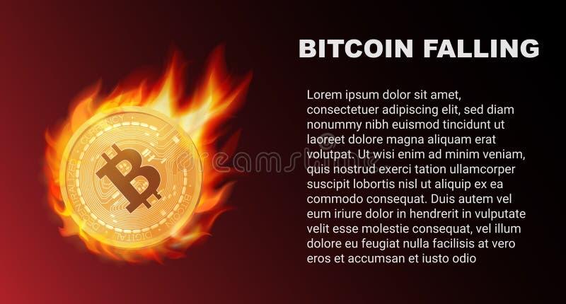 La chute de la pièce de monnaie de Bitcoin en feu Marché rouge Illustration de vecteur de comète de Bitcoin illustration libre de droits