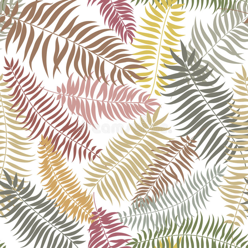 La chute florale a couvert de tuiles le modèle Fond sans couture de palmettes tropicales illustration de vecteur