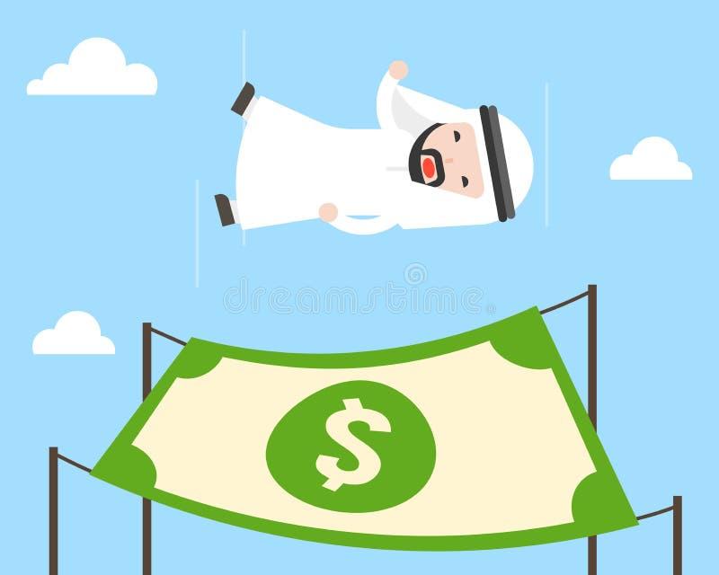 La chute gratuite d'homme d'affaires arabe mignon du ciel, avec le filet de sécurité a fait f illustration stock