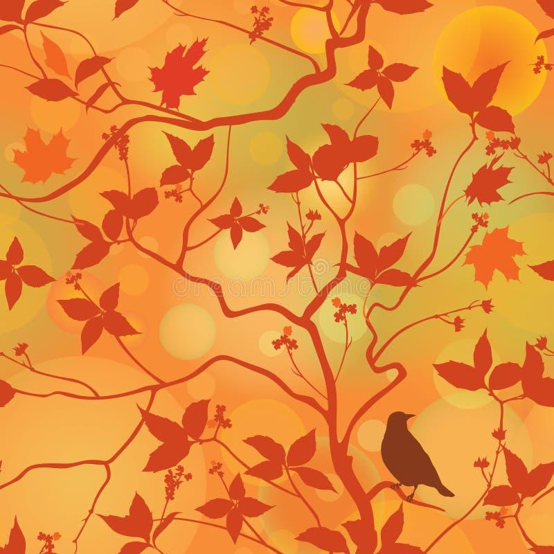 La chute laisse le modèle sans couture floral WI de fond de forêt d'automne illustration de vecteur