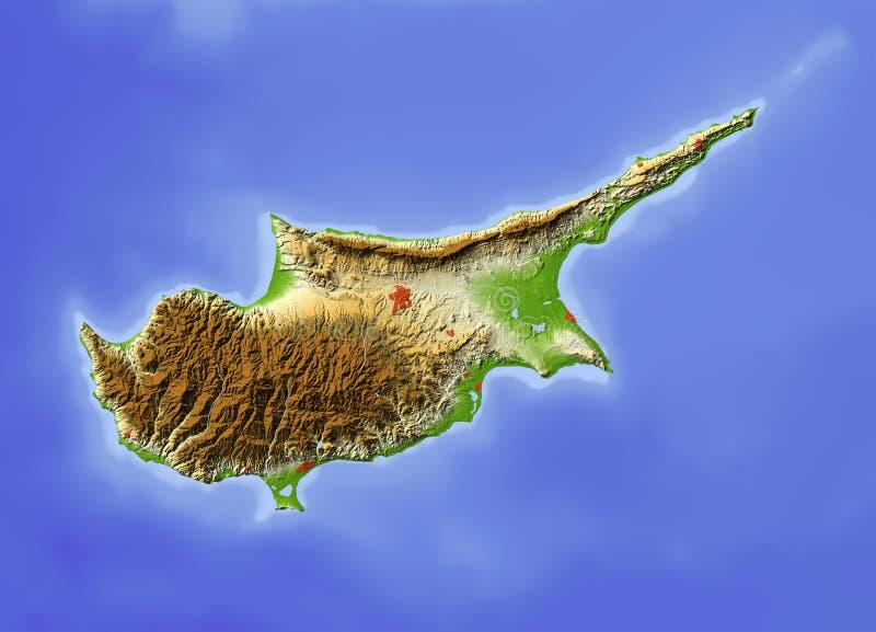 La Chypre, carte d'allégement illustration stock