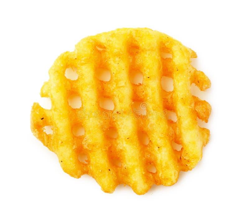 La cialda croccante del frie della patata, ondulata, il taglio della piega, criss attraversa i grida fotografie stock