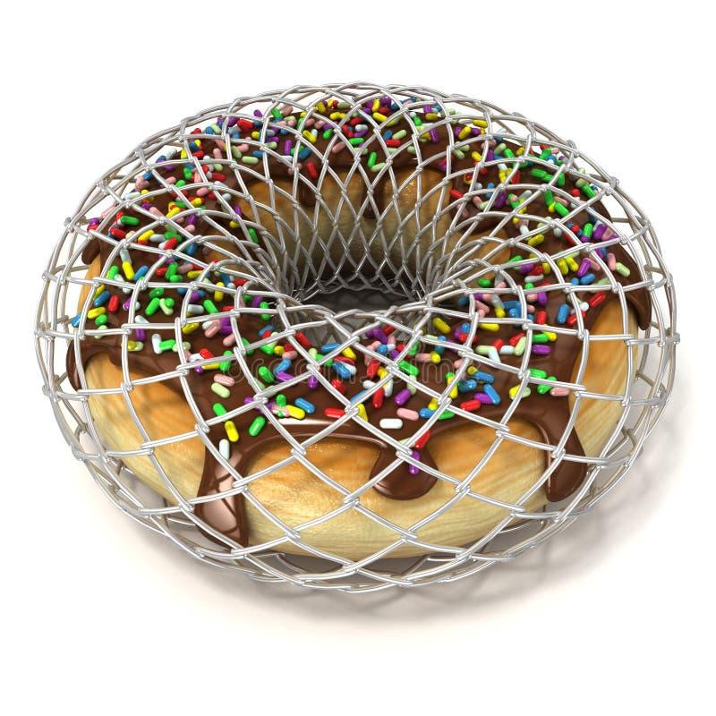 La ciambella del cioccolato con spruzza in recinto di filo metallico, come simbolo della dieta immagine stock