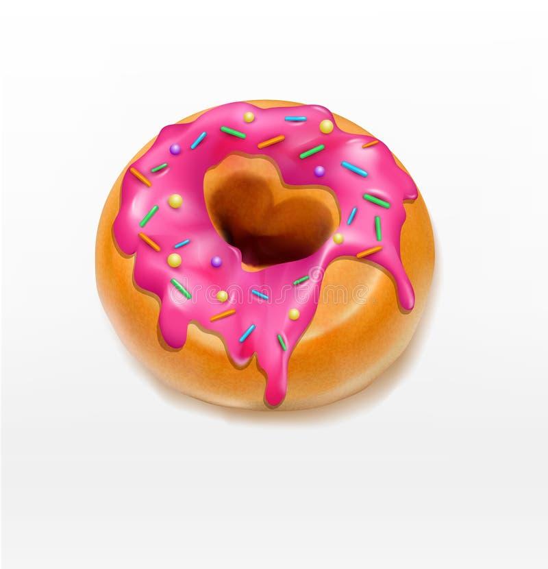 La ciambella di vettore uno lustrata con caramello rosa spruzza (elemento FO royalty illustrazione gratis