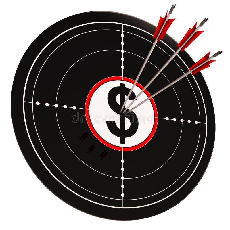La cible du dollar montre l'argent liquide et la richesse de mâles illustration stock