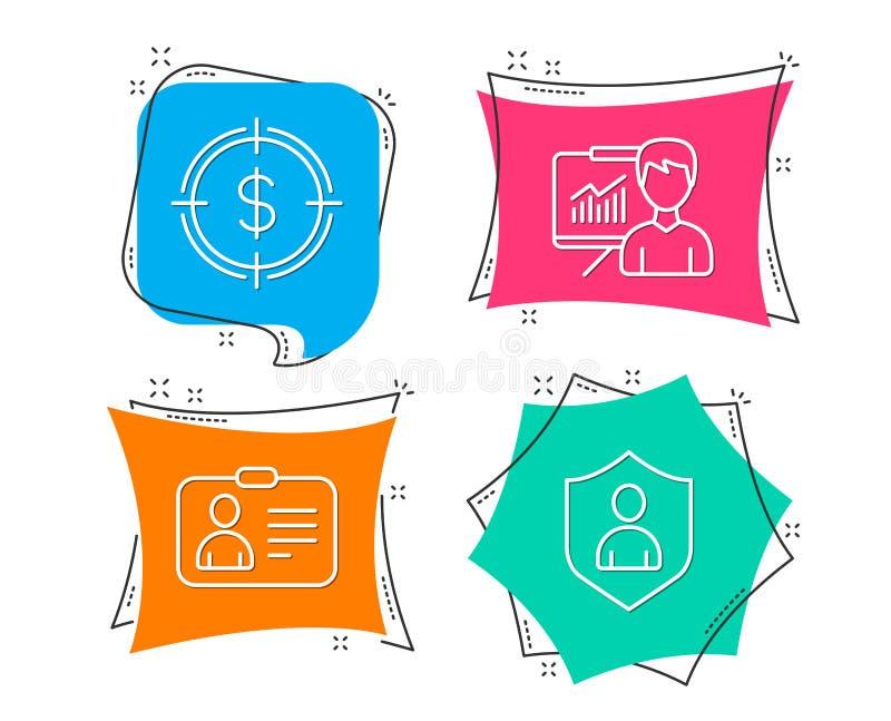 La cible, la présentation et l'identification du dollar cardent des icônes Signe de sécurité Visez avec USD, panneau d'éducation, illustration stock