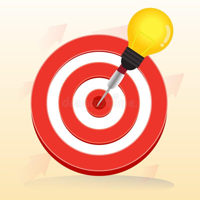 La cible rouge de boudine de vecteur et le dard d'ampoule est au centre illustration stock