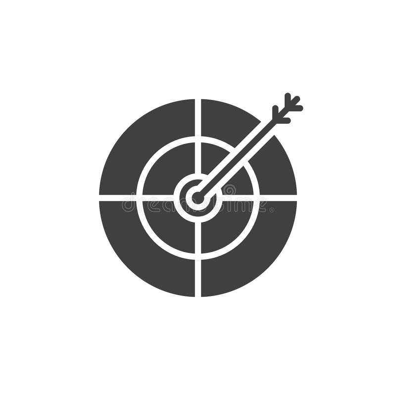 La cible, vecteur d'icône de but, a rempli signe plat, isolant solide de pictogramme illustration libre de droits