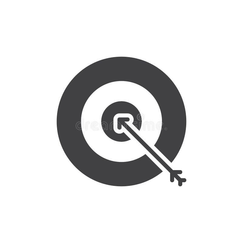 La cible, vecteur d'icône de but, a rempli signe plat, pictogramme solide d'isolement sur le blanc illustration stock